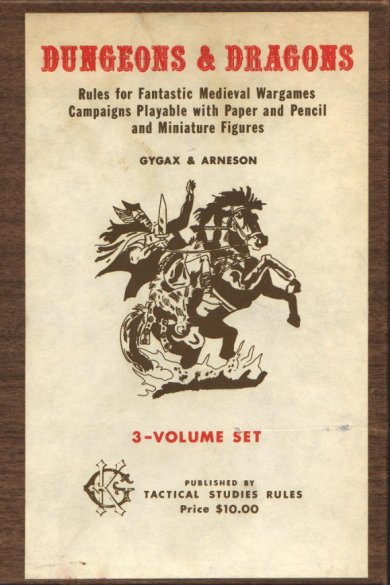 Original Dungeons & Dragons (OD&D). Photo courtesy of The Screamsheet (http://screamsheet.wordpress.com/2011/01/03/the-editions-of-dungeons-dragons/)