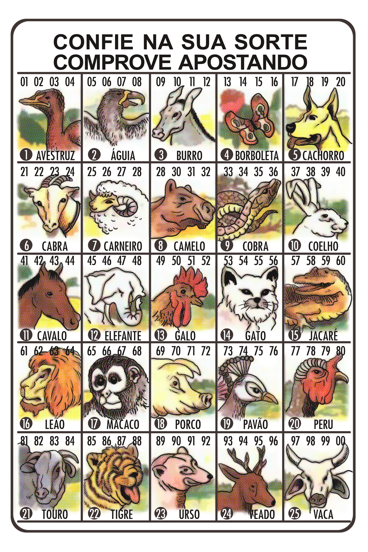 Traditional O Jogo do Bicho betting card, illustrated by Mariana Waechter and designed by Luiz Falcão.