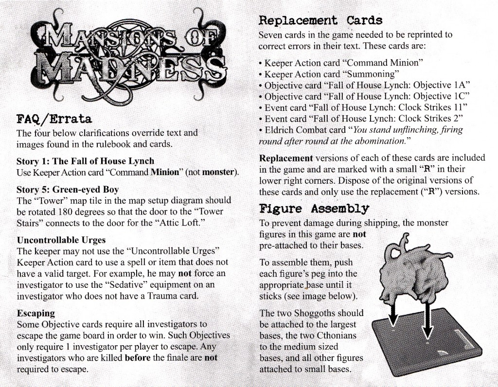Errata insert from the first printing of Mansions of Madness