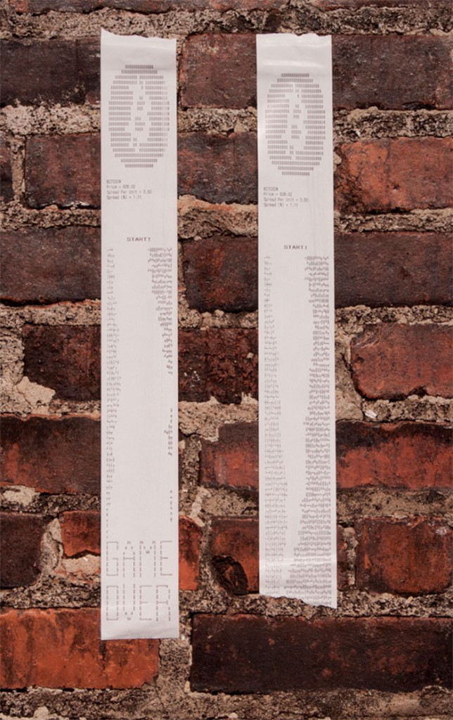 Receipt printouts from a game of Currency. Photo by the developers.