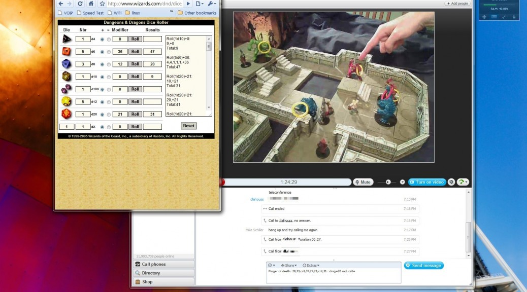 Playing Dungeons & Dragons via Skype. Photo by Mike Shea.