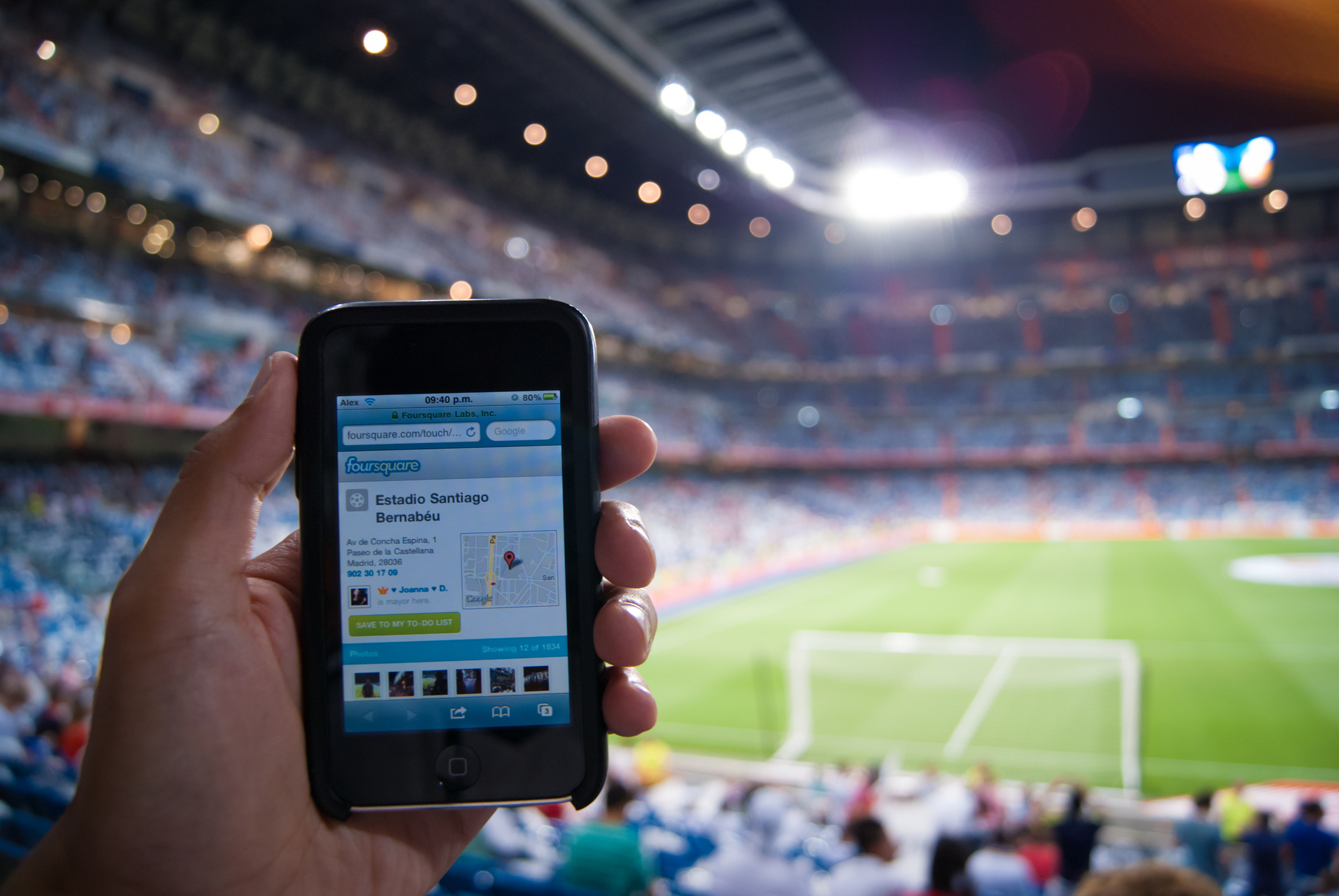 Foursquare at a soccer game. Photo by Alejandro Castro