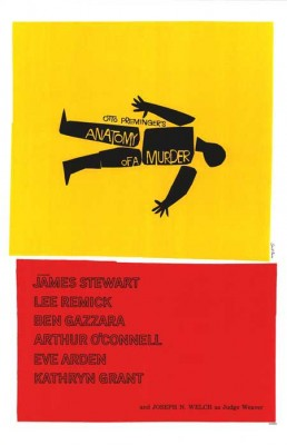 Poster for Otto Preminger's Anatomy of a Murder (1959) designed by Saul Bass. Original copyright held by Columbia Pictures, 1959.