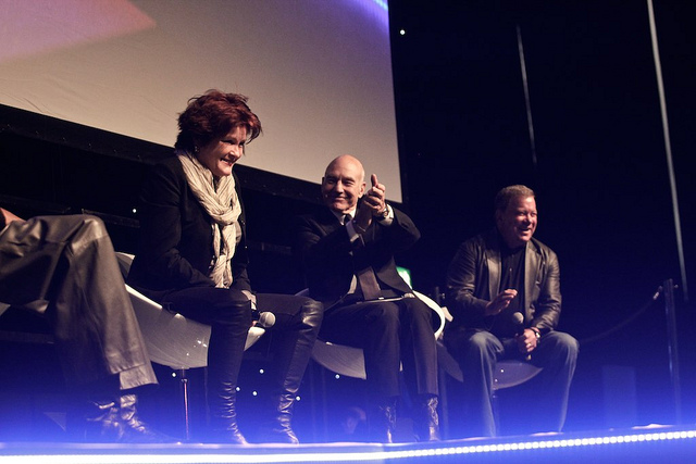 Kate Mulgrew, Patrick Stewart, and William Shatner on a London panel. All three actors played Star Trek captains for several years on sometimes grueling shooting schedules. Photo by XPRIZE Foundation on Flickr. No changes were made to this image.