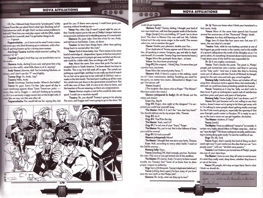 Transcript of a meeting of the Queer Nova Alliance, from Aberrant: Player's Guide (2000)