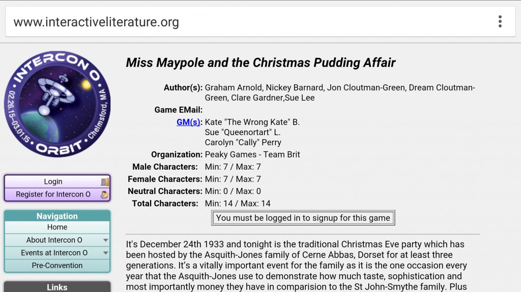 "Example of gender ratios in ""Miss Maypole and the Christmas Pudding Affair."" Screenshot from Intercon O website."
