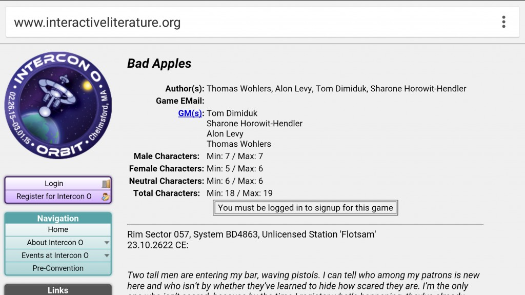 "Example of gender ratios for characters in ""Bad Apples."" Screenshot from the Intercon O website."
