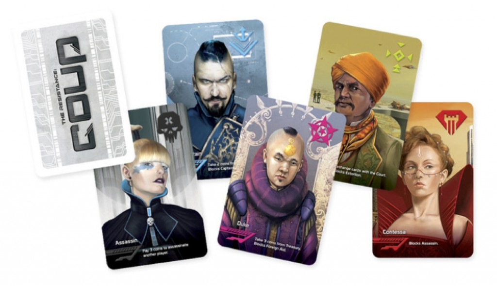 Claiming to be the Contessa (far right) in Coup can counteract pesky assassinations, but being caught in that lie could instantly lose one the game. Image by Indie Boards and Cards, used with permission.