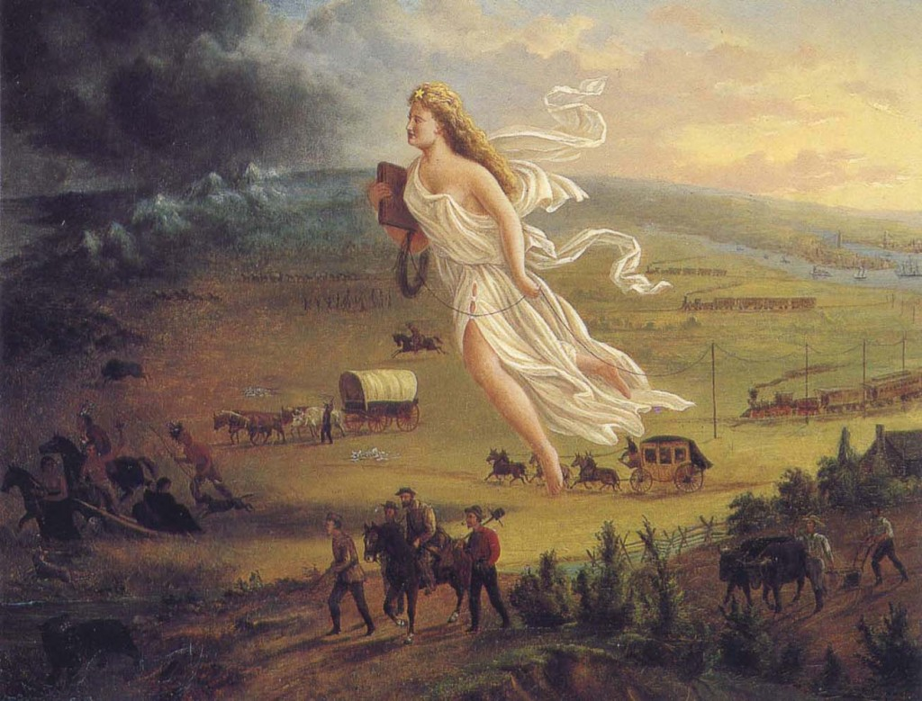 """A 1872 representation of """"American Progress"""" associated with the Frontier Myth. Public Domain."""
