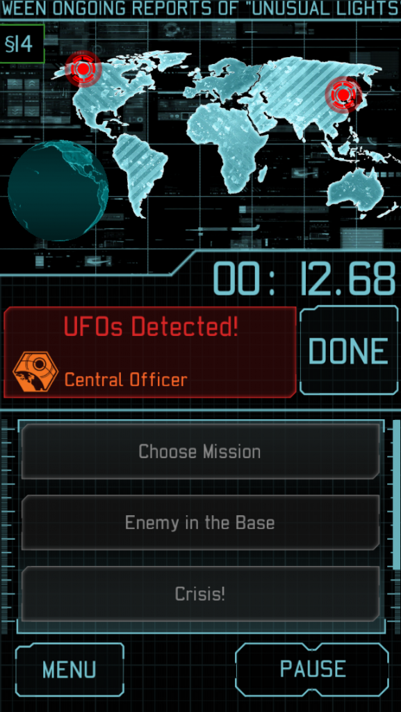 Image from the timed phase on the digital app in XCOM: The Board Game. Image used for purposes of critique.