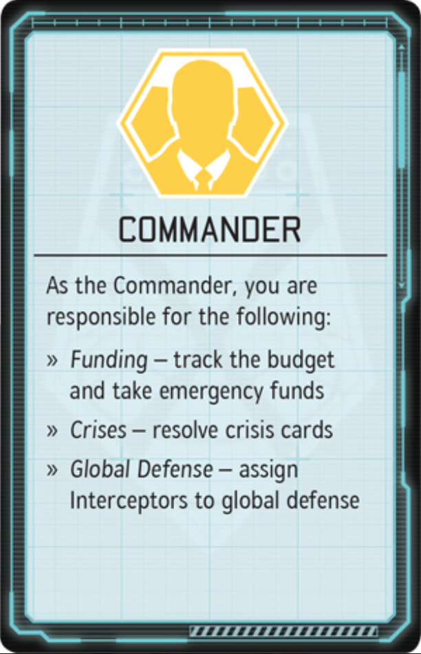 Image of the Commander card from XCOM: The Board Game. Image used for purposes of critique.