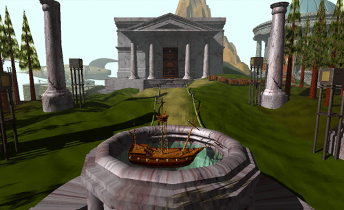 A gameplay example from Myst. Image used for purposes of critique.