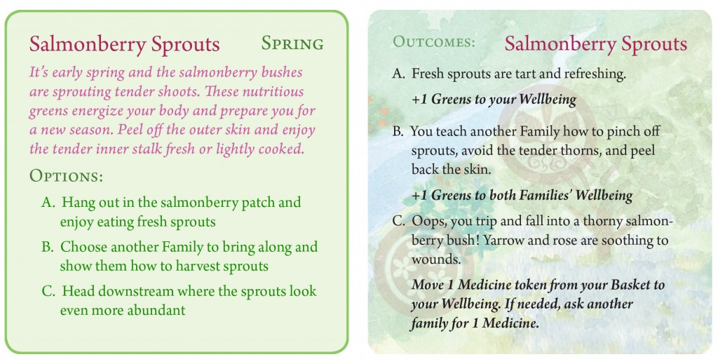 Example of a Spring scenario card from The Gift of Food. CC BY Northwest Indian College.