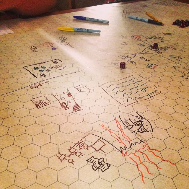 """An example of a gameplay map from The Quiet Year. """"Winter is coming. The Quiet Year. Our abundance is robots. #rpg"""" by Scott Bristow on Flickr, CC BY-NC-SA."""