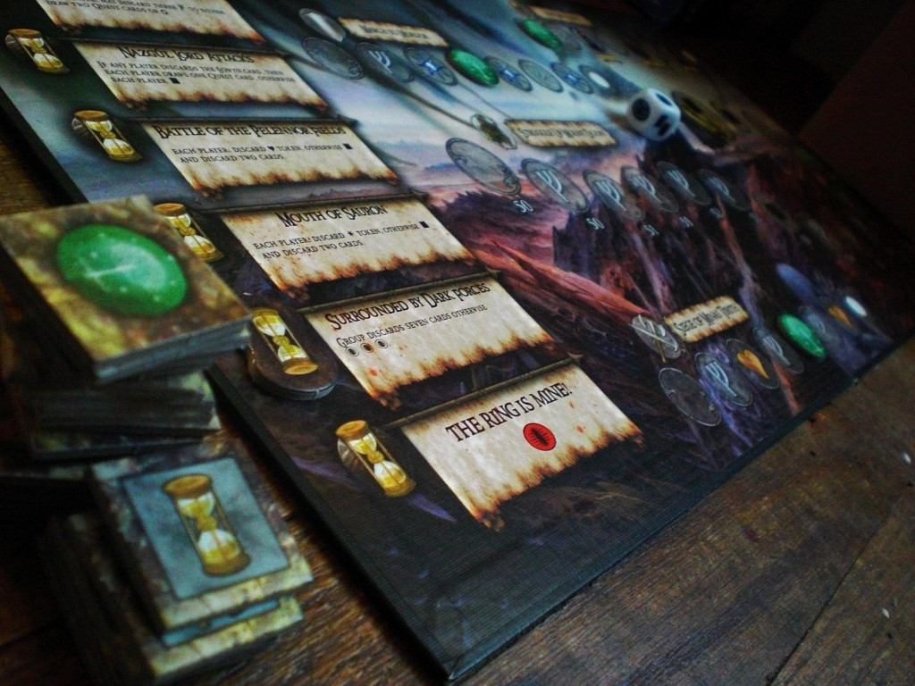 """One way to lose in Reiner Knizia's game """"The Lord of the Rings"""" is to reach the final space on the Mount Doom Conflict Board. Image used with permission by Joanna Herron."""