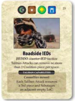"""Roadside IEDs"" card from A Distant Plain. Image used for purposes of critique."