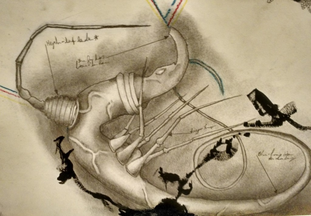 A drawing on the surface of the controller. Photo by Eddie Lohmeyer and used with permission of the author.
