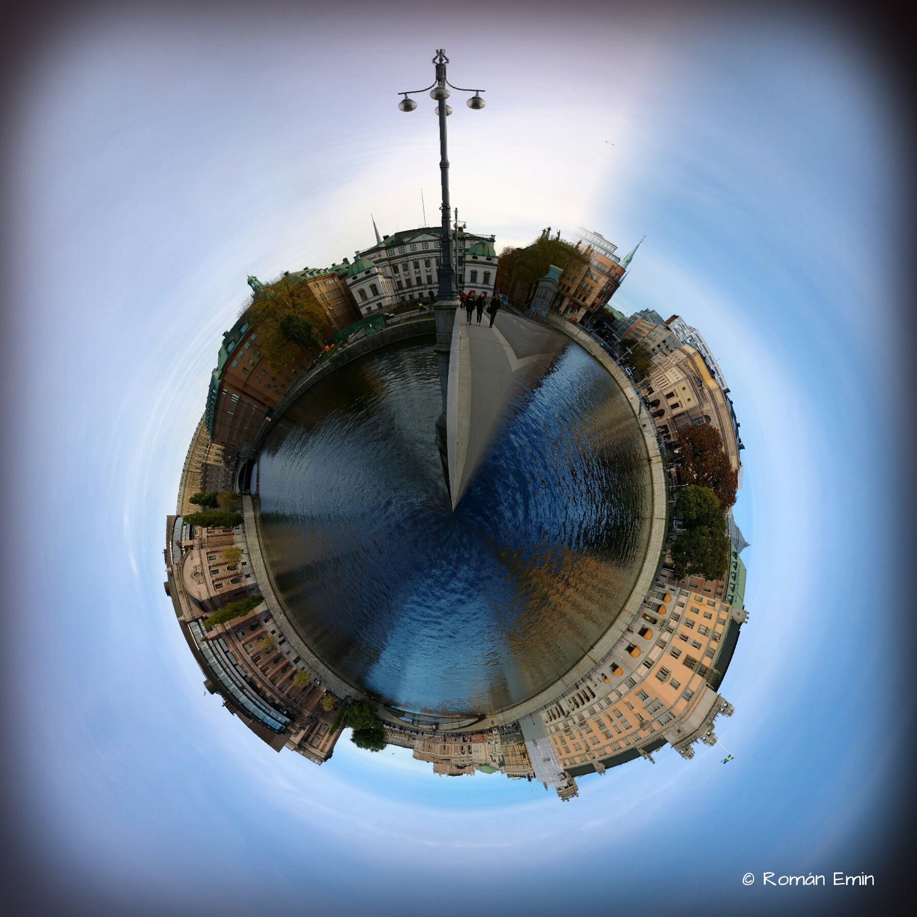 """TinyPlanets: Stockholm"" by Román Emin on Flickr, CC BY-ND."