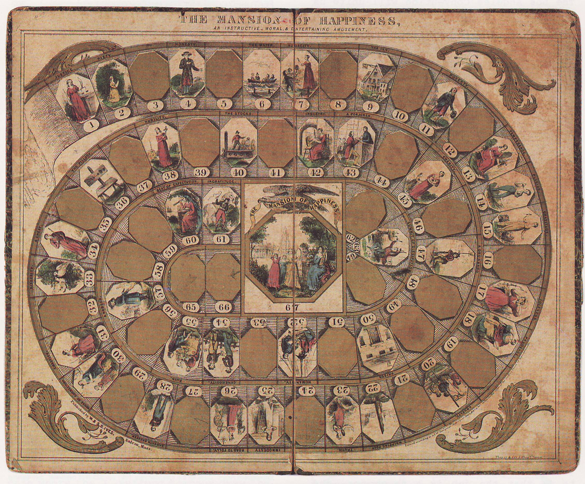 The Mansion of Happiness: An Instructive Moral and Entertaining Amusement (1843) is one of the earliest published American board games. Image in the public domain.