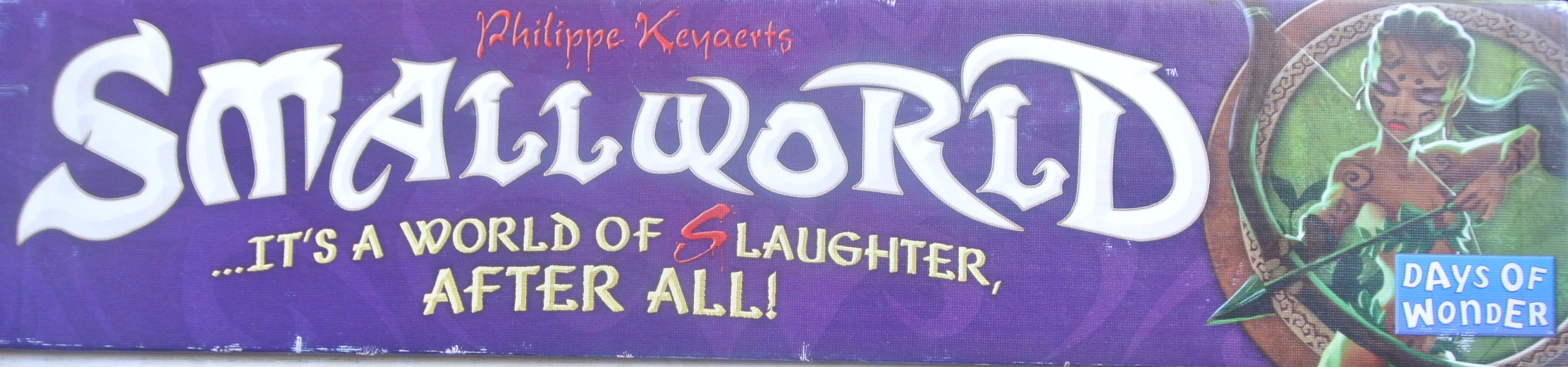 "Small World box art, depicting the tagline ""It's a World of (S)laughter After All."" Image used with permission of the author, and reproduced for purposes of critique."