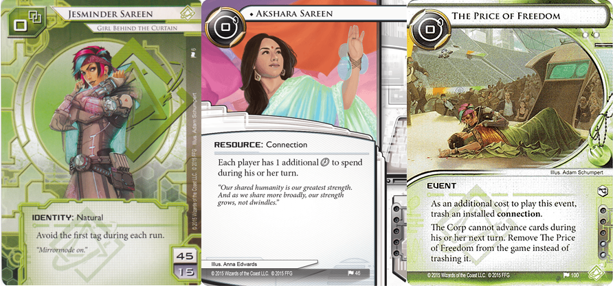 Figure 4. The evolution of story through Android: Netrunner's Mumbad Cycle.