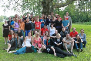 A group photo of the participants, organizers, teachers, and facilitators from the first Larpwriter Summer School in 2012. Photo by Martin E. Andresen.