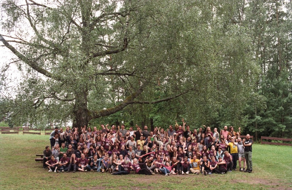A group photo of the participants, returning alumni, organizers, teachers, and facilitators from the latest Larpwriter Summer School in 2016. Photo by Dmitry Samus.