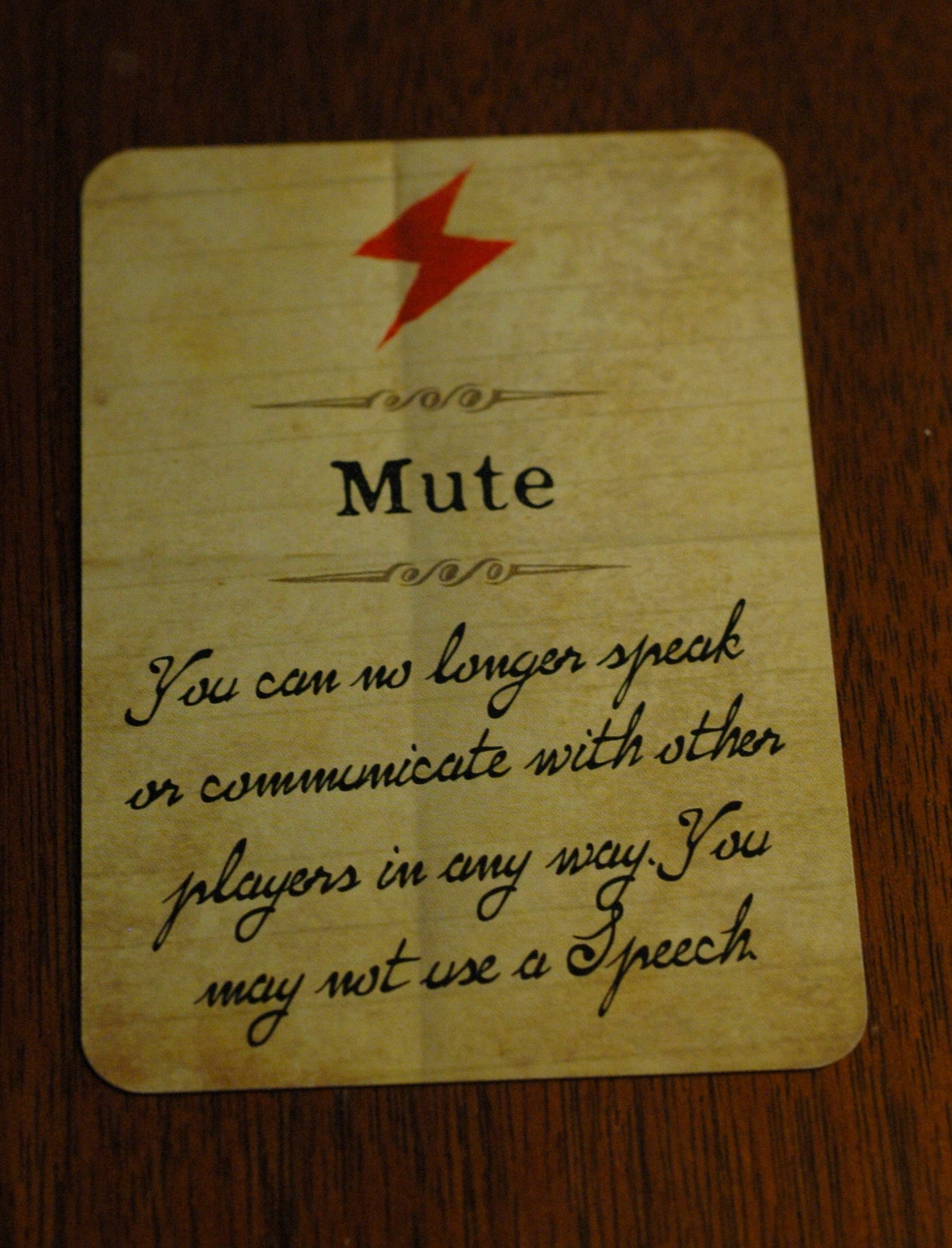 """Mute"" card from the game. Photo used with permission of the author and used for purposes of critique."