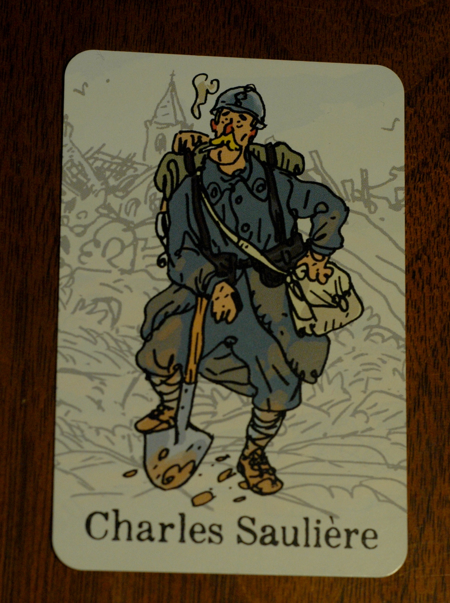 Charles Saulière's character card. Photo used with permission of the author and used for purposes of critique.