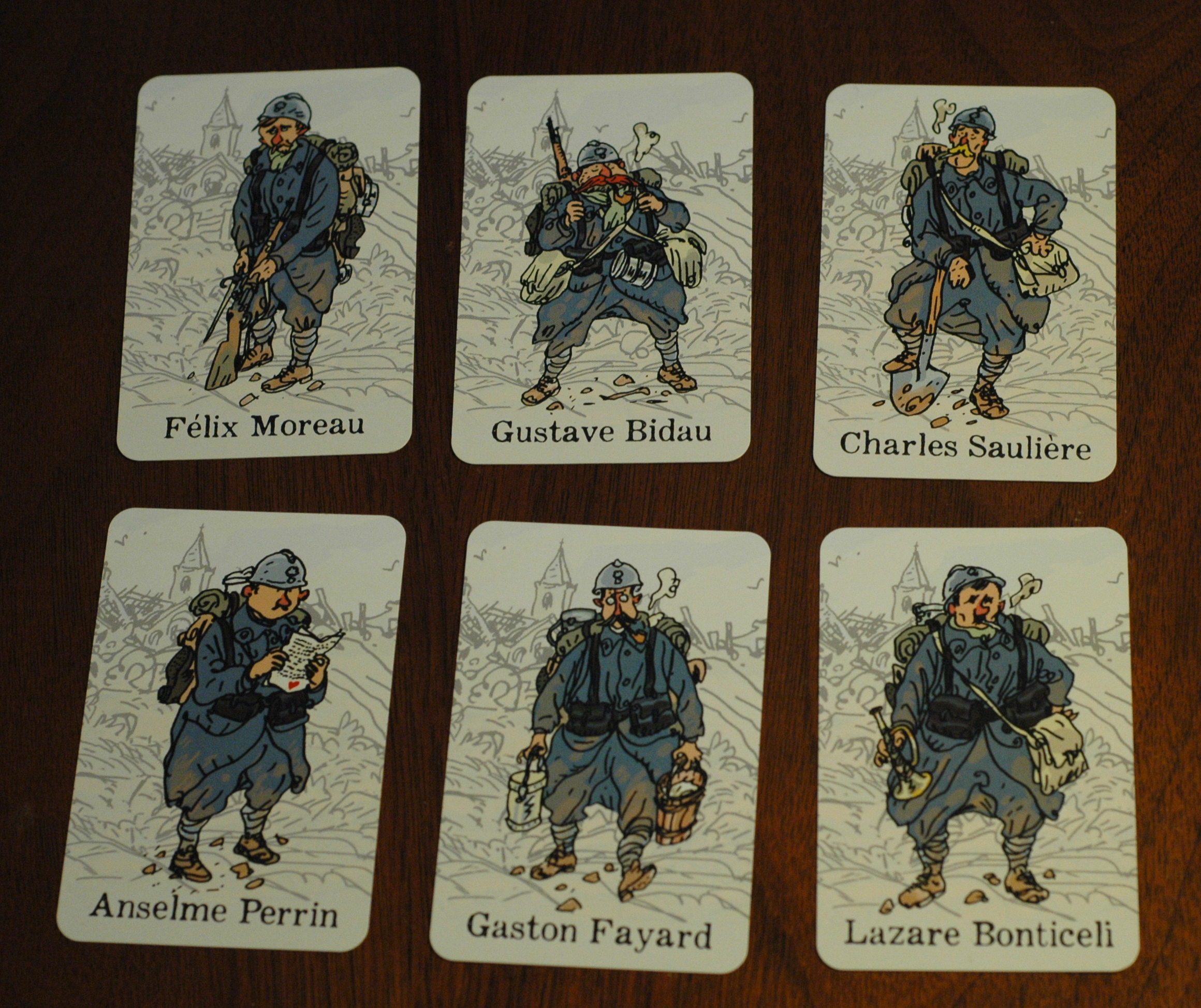 Character cards from the game. Photo used with permission of the author and used for purposes of critique.
