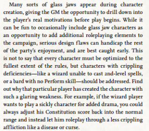 "Description of a ""glass jaw"" character in Pathfinder. Image used for purposes of critique."