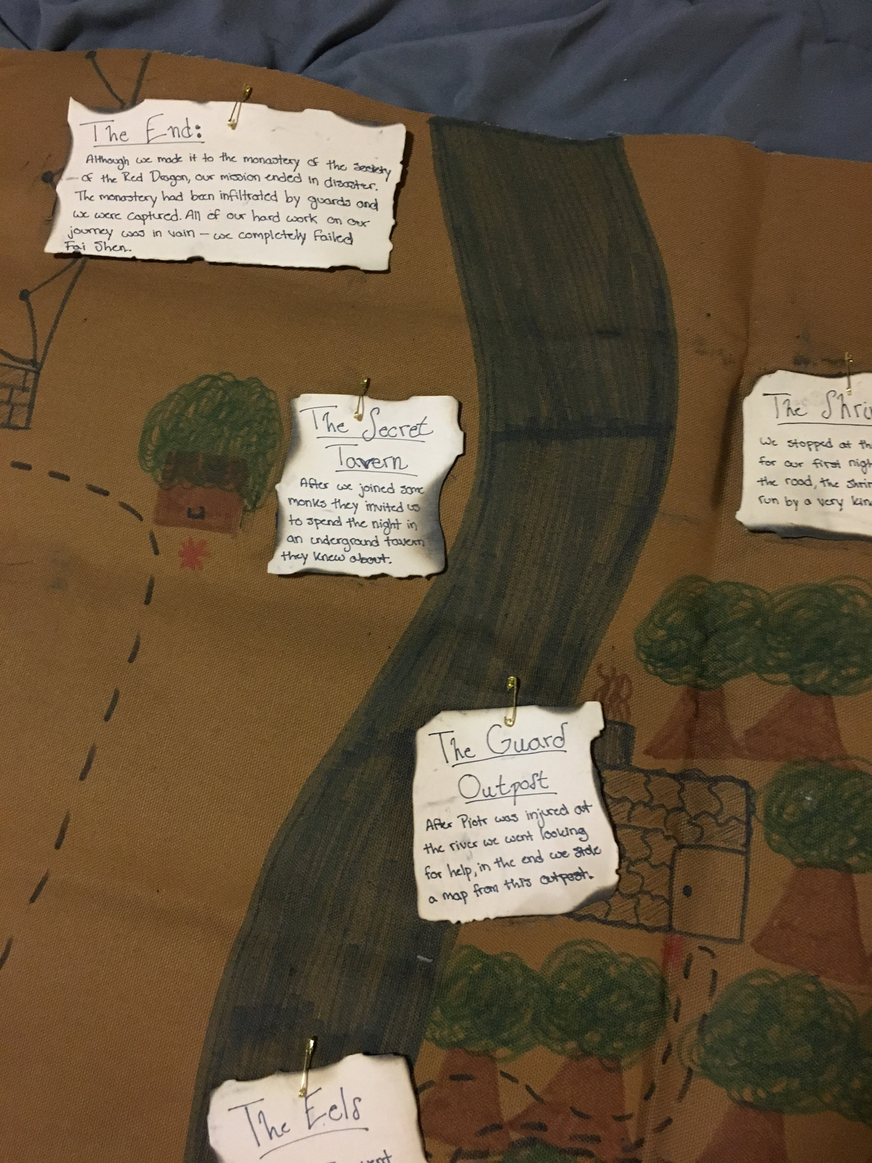 For their assignments, some students decided to create hand-drawn maps to record and reflect on their experience.