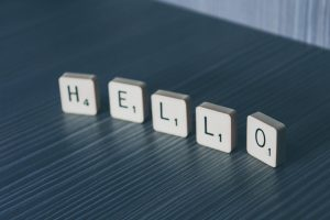 This is a set up of Scrabble tiles that spells Hello