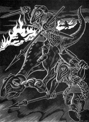 Firenewt illustration by Alan Hunter for the Fiend Folio (1980) Image by Tom Simpson @Flickr CC BY-NC 2.0